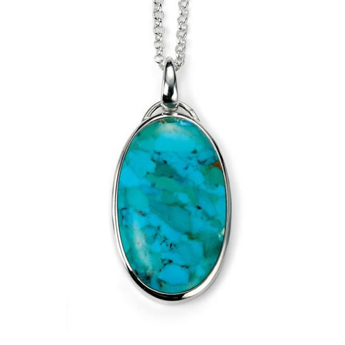 Turquoise Oval Necklace In Sterling Silver