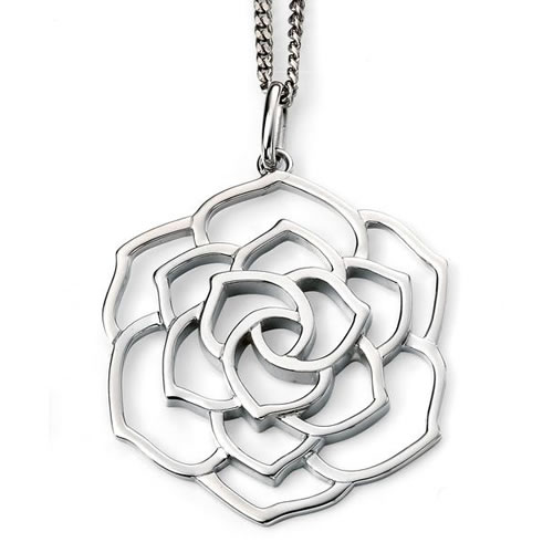 Triple Layer Open Rose Sterling Silver Necklace