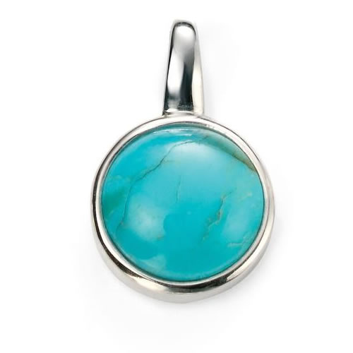 Turquoise And Sterling Silver Round Necklace