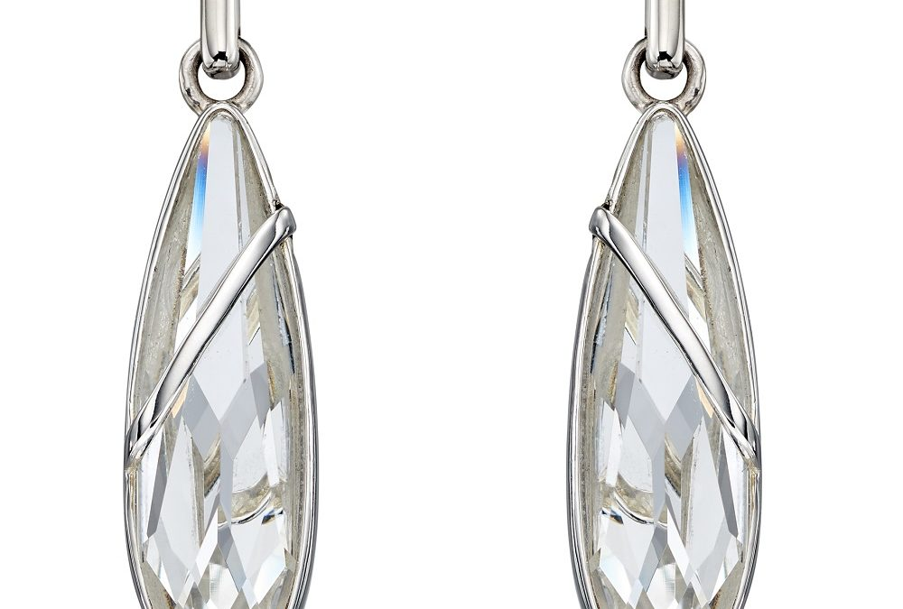 Elongated Teardrop Swarovski Earrings